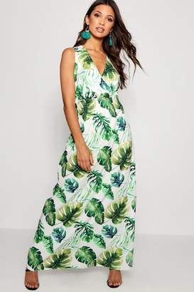 boohoo Tropical Print Wrap Front Maxi Dress