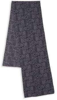 Roberto Cavalli Wool Logo Printed Scarf