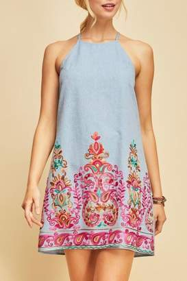 LuLu*s LuLu's Boutique Embroidered Chambray Dress