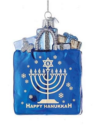 Kurt Adler Happy Hanukkah Glass Gift Bag Ornament