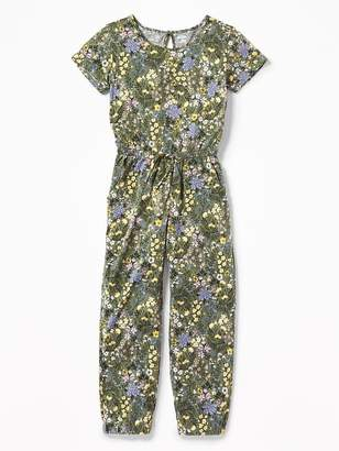 Old Navy Floral-Print Jersey Jumpsuit for Girls