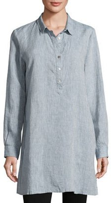Eileen Fisher Long-Sleeve Henley Tunic, Chambray $228 thestylecure.com