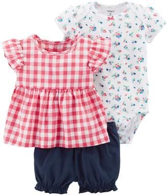 Carter's Baby Girl Floral Bodysuit, Gingham Top & Bubble Shorts Set