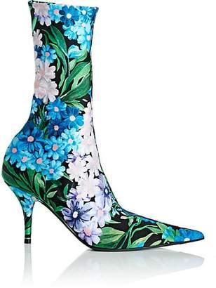 Balenciaga Women's Knife Tech-Jersey Ankle Boots - Blue
