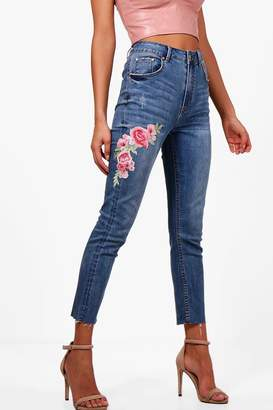 boohoo Raw Hem Floral Embroidered Skinny Jeans