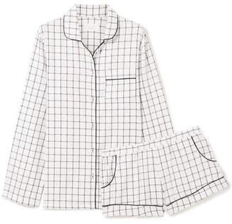 Three J NYC Josephine Checked Cotton-flannel Pajamas - Ecru