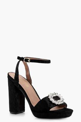 boohoo Isla Velvet Embellished Platform Heels