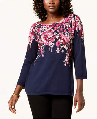 Karen Scott Placed Floral-Print Sweater, Created for Macy's