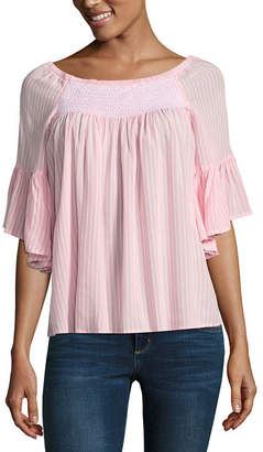 A.N.A Elbow Sleeve Crew Neck Woven Blouse-Tall