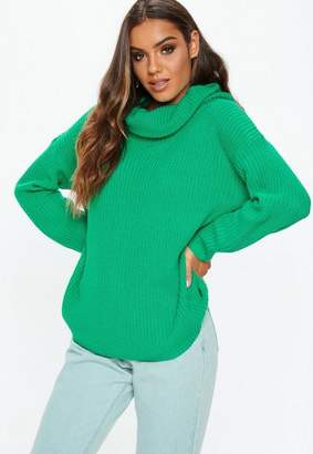 Missguided Green Turtle Neck Chunky Knit Basic Sweater