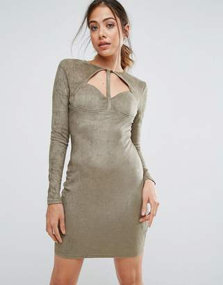 AX Paris Khaki Suede Strappy Bodycon Dress