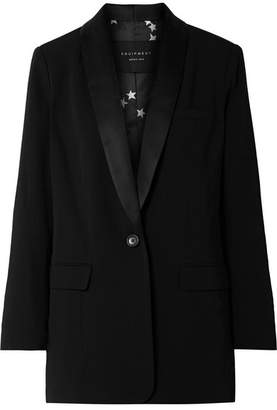 Equipment Quincy Satin-trimmed Crepe Blazer - Black