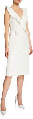 Jason Wu Compact Crepe V-Neck Sleeveless Ruffle-Trim Dress