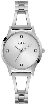 GUESS Women Silver Diamond Self-adjustable G-link Watch 25MM