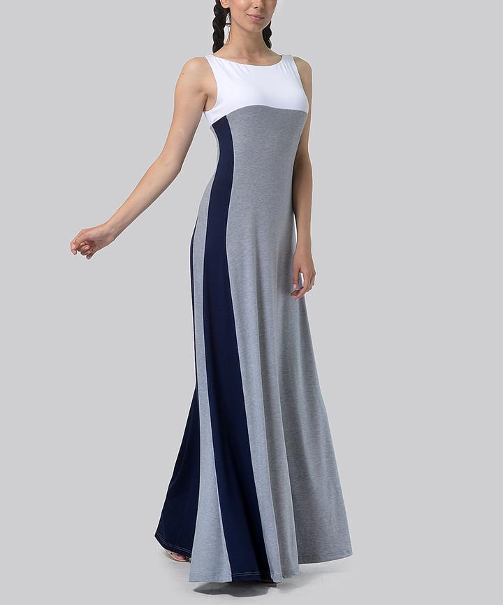 White & Gray Color Block Maxi Dress - Women, Juniors & Plus