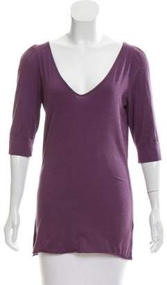 Velvet Three-Quarter Sleeve Scoop Neck Top