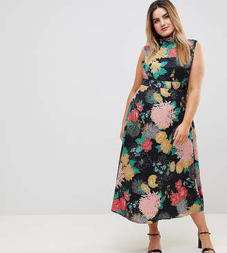 Yumi Plus Uttam Boutqiue Plus High Neck Floral Belted Maxi Dress