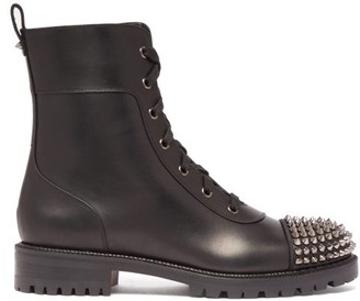 Christian Louboutin Studded Toecap Lace Up Leather Ankle Boots - Womens - Black