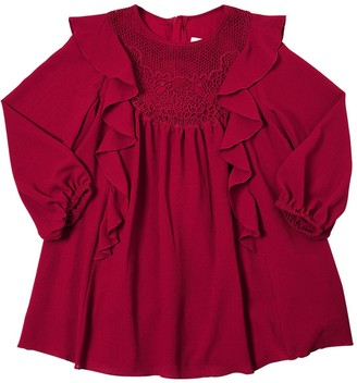 Chloé Ruffled Crepe Party Dress With Lace