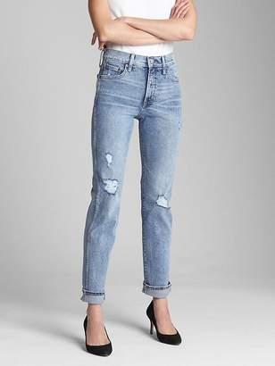 Gap High Rise Slim Straight Jeans with Destruction