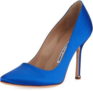 Manolo Blahnik Satin Pointed-Toe Pump, Blue