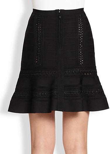 Herve Leger A-Line Crochet Skirt