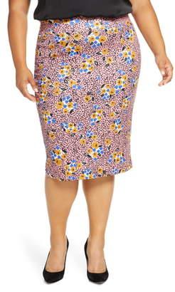 ELOQUII Floral Print Scuba Pencil Skirt