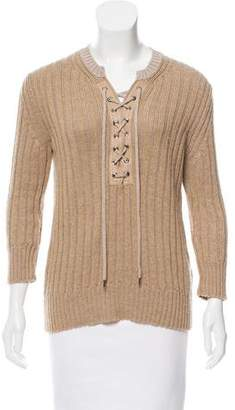 Chloé Lace-Up Wool-Blend Sweater