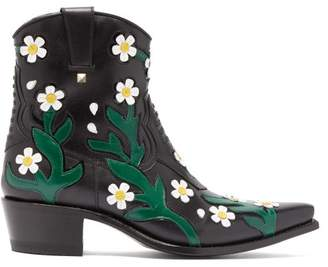Valentino Ranch Daisy Floral Applique Western Leather Boots - Womens - Black Multi