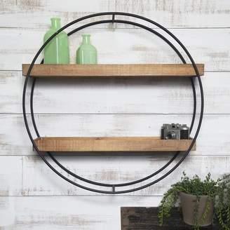Gracie Oaks Maisha Round Metal and Wood Wall Shelf