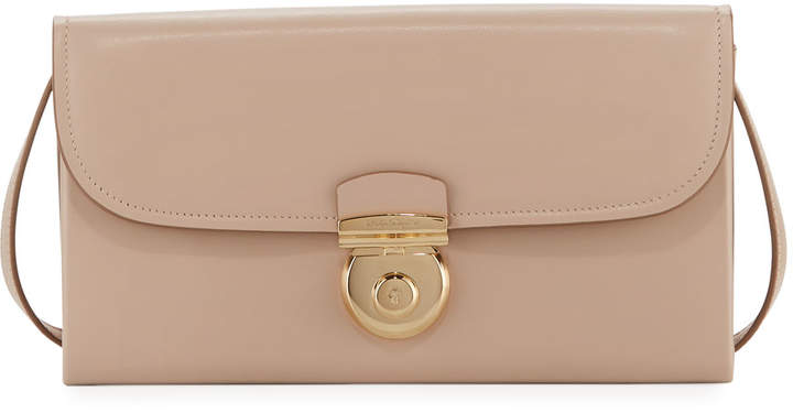 Salvatore Ferragamo Leather Flap Crossbody Bag, Beige