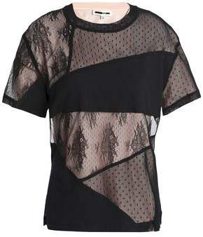 McQ Ring-Embellished Patchwork Lace And Stretch-Jersey T-Shirt