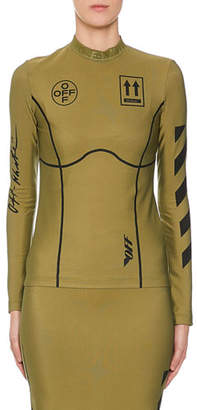 Off-White Diagonal-Striped Graphic Long Sleeve Top, Military Green
