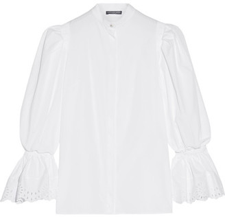 Alexander McQueen - Broderie Anglaise-trimmed Cotton-poplin Blouse - White $1,145 thestylecure.com