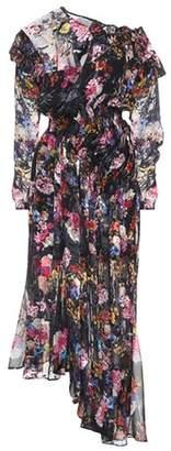 Floral-printed silk-blend dress