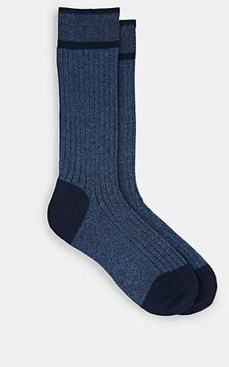 Barneys New York Men's Ribbed Cotton-Blend Mid-Calf Socks - Navy