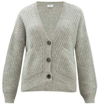 Allude V Neck Ribbed Knit Cardigan - Womens - Grey