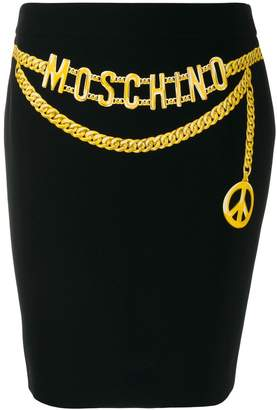 Moschino Pre-Owned chain logo belt printed skirt