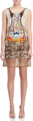 Save The Queen Printed Lace Hem Dress