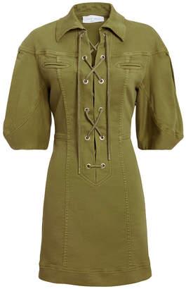 Alberta Ferretti Olive Cargo Mini Dress