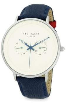 Ted Baker Chronograph Stainless Steel Check Leather Strap Watch