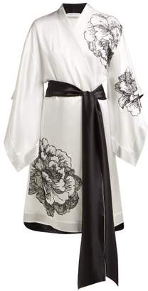 Carine Gilson Lace Embellished Silk Satin Kimono Robe - Womens - Black White