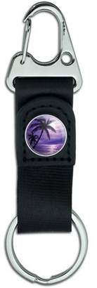 Generic Purple Sunset Palm Tree Hawaii Paradise Belt Clip On Carabiner Leather Keychain Fabric Key Ring