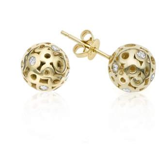 """Parker Hi June Jewelry New York 14k Yellow Gold & White Diamond Stud Earrings """"Rotunda"""""""