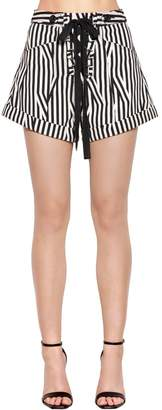 Self-Portrait Lace-Up Striped Cotton Shorts