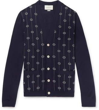 Gucci Slim-Fit Logo-Jacquard Wool-Blend Cardigan