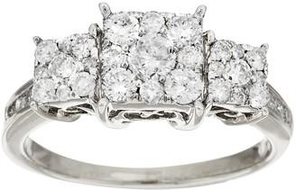 Affinity Diamond Jewelry 3-Stone Cluster Princess Shaped Diamond Ring, 14K by Affinity