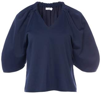Tibi Marsha Luxe Knit Shirred V-Neck Top