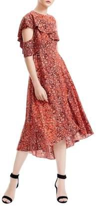 Maje Rivele Asymmetric Midi Dress