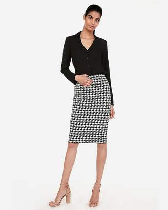 Express High Waisted Houndstooth Fitted Pencil Skirt